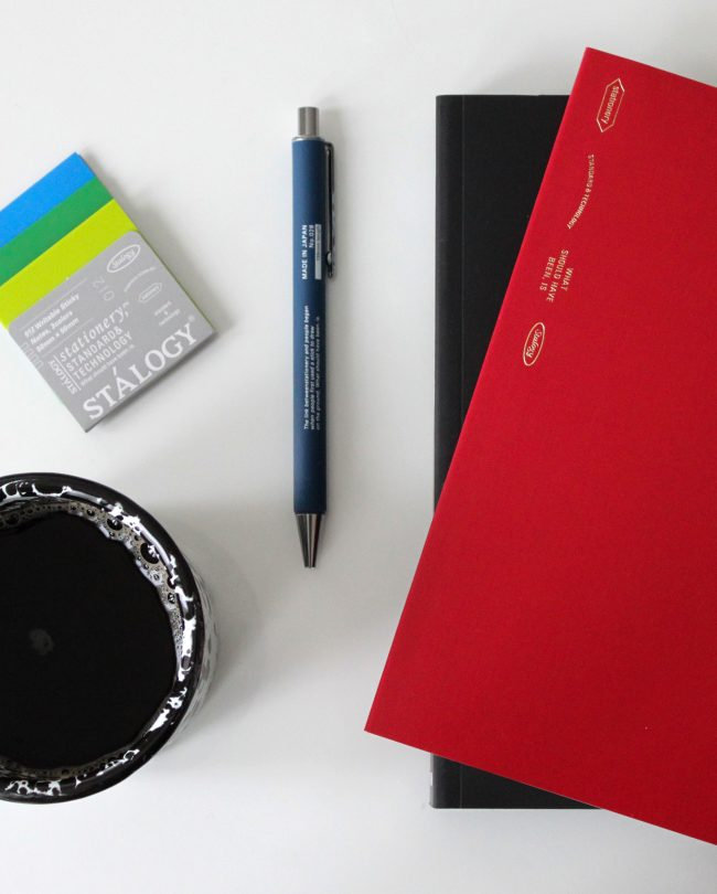 Stalogy stationery with a cup of coffee