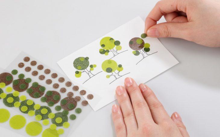 masking dots decorating a card